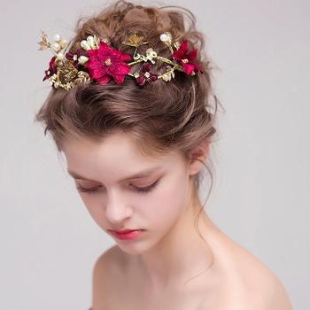 FORSEVEN złoty kryształ Rhinestone kwiat perłowy tiary ślubne pałąk kobiety chluba korony ślubne akcesoria biżuteria do włosów JL tanie i dobre opinie CN (pochodzenie) Ze stopu cynku Moda Tiaras TRENDY Hairwear 30705 PLANT