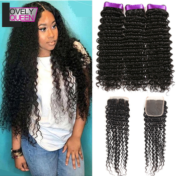 Deep Wave Bundles With Closure Lovely Queen Indian Hair 3 Bundles With Closure Natural Color Human Hair For Black Women