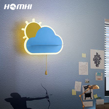 Light-Wall-Lamp Bedroom Indoor-Wall-Sconce Cloud Children Switch Room-Decoration Home
