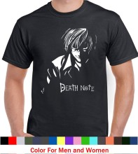 Death Note T-Shirt da Uomo Note a Catena Kira L Cotone Nero