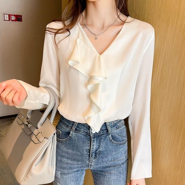 Spring Chiffon Ruffle Blouse Women Fashion V-neck Long Sleeve Top Solid Color Shirts Blouses Blusas 4