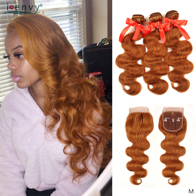 Ombre Brazilian Body Wave Bundles With 4X4 Closure 1B 27 30 Honey Blonde Bundles With Closure Human Hair Curly Weaves Non-Remy