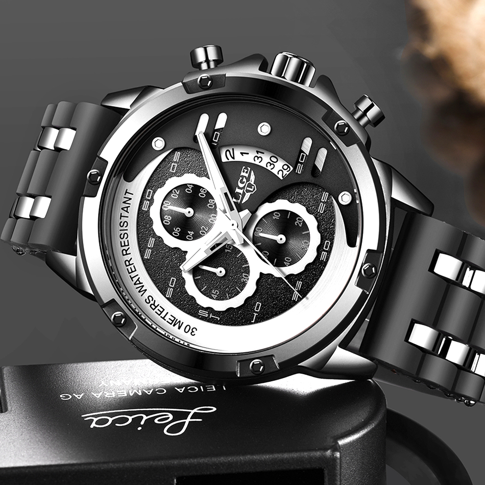 LIGE Top Men Watches Top Brand Luxury Luminous Display Waterproof Watches Sport Chronograph Quartz Wrist Watch Relogio Masculino