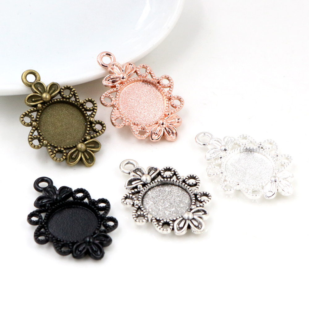 16pcs 12mm Inner Size 5 Colors Fashion Style Cabochon Base Cameo Setting Charms Pendant