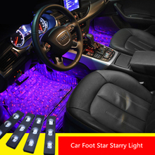 Colorful LED Car Foot Starry Light Interior Atmosphere Lamp Neon Music Voice Control USB Decorative Lamp Auto Novelty Lighting cheap blingdog NONE Holiday Other ROHS LED Bulbs car interior atmosphere star light 7 Colors Music flashing lights Remote control
