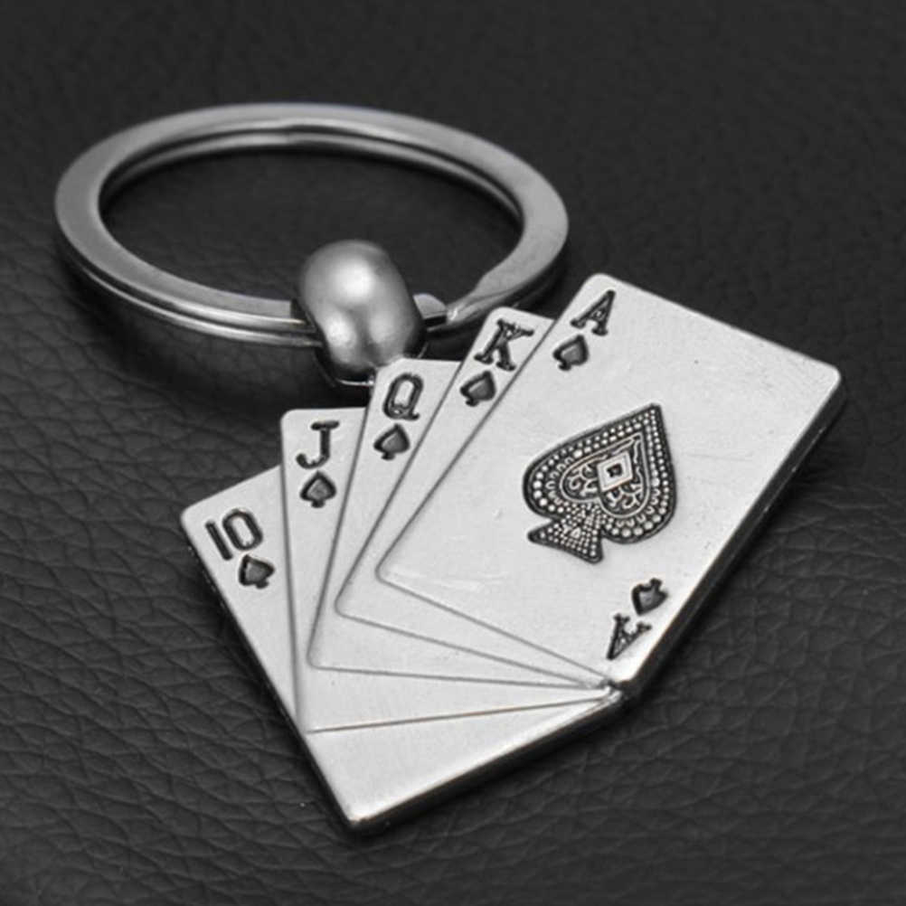 Ontwerp Cool Luxe Metalen Sleutelhanger Auto Sleutelhanger Sleutelhanger Poker Casino Ketting Kleur Hanger Voor Man Vrouwen Gift