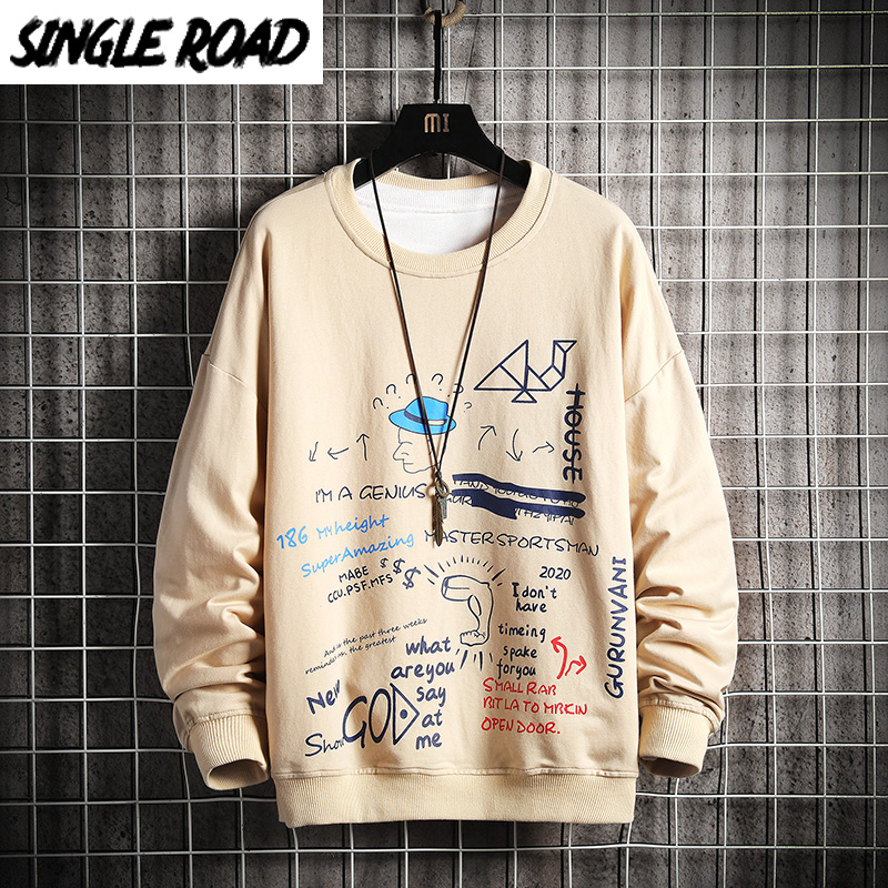 SingleRoad Crewneck Sweatshirt Men 2020 Graffiti Hip Hop Harajuku Japanese Streetwear Khaki Hoodie Men Sweatshirt Male Hoodies