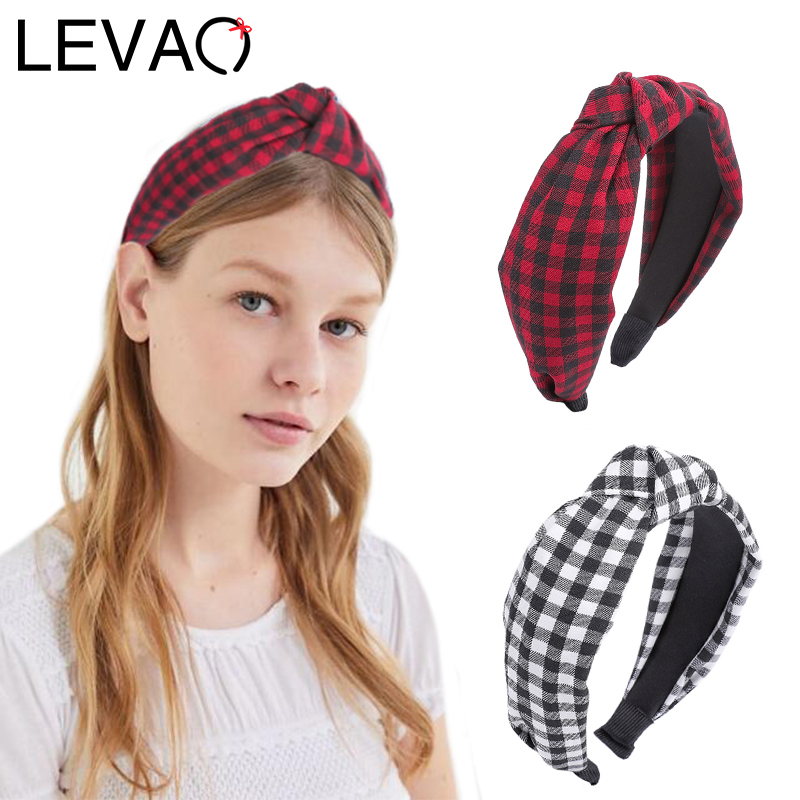 LEVAO Plaid Headband Knotted Hairband Bezel Turban Fashion For Women Elegant Girls Hair Accessories Hair Band Head Hoop Headwear