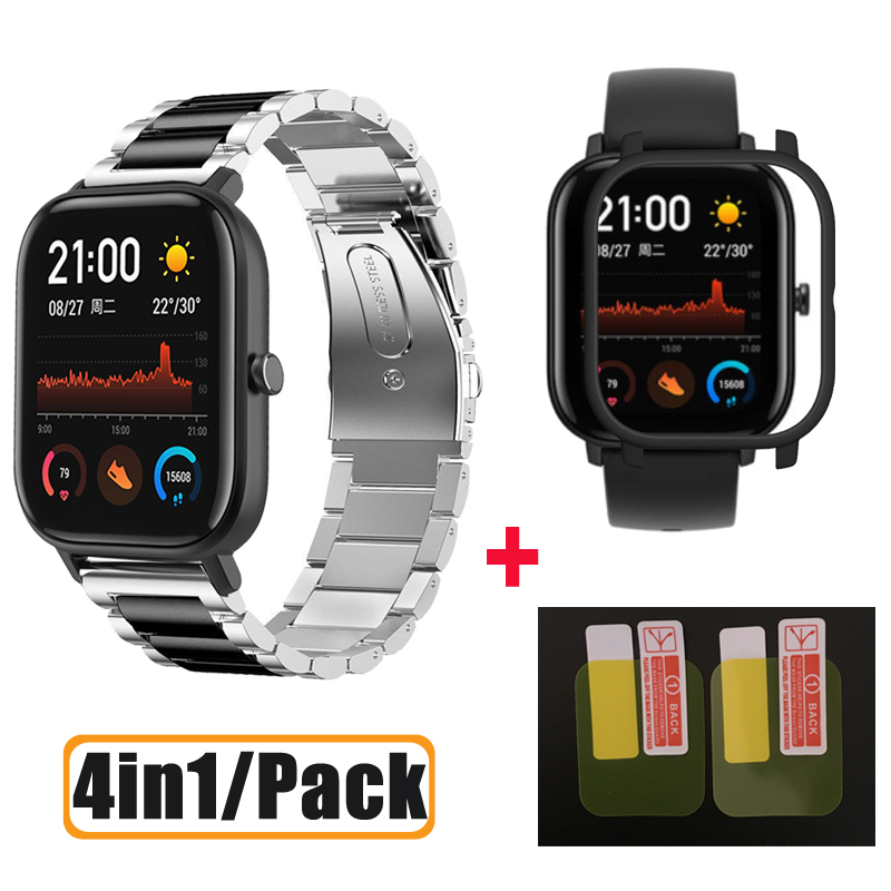 4in1/Pack Smart Watch Accessories For Amazfit GTS Strap Bracelet For Huami Amazfit Gts Case Screen Protector Film Wrist Strap