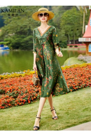 Silk dress women's 2020 spring new dress mulberry silk printing 7-sleeve medium long dress