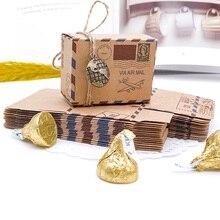 100 pezzi bomboniere Vintage scatola di caramelle di carta Kraft tema di viaggio aereo posta aerea confezione regalo souvenir di nozze scatole regalo