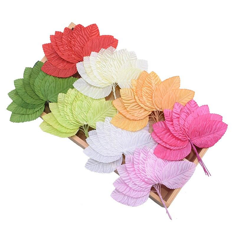 100pcs/lot Green White Pink Beige Red Artificial Leaf Foliage Wedding Decoration DIY Wreath Gift Scrapbooking Craft Fake Flowers