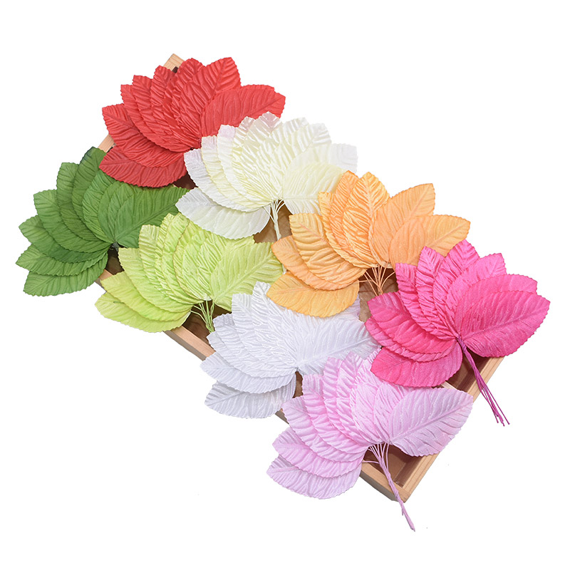 100pcs/lot Green White Pink Beige Red Orange Artificial Leaves Wedding Decoration DIY Wreath Gift Scrapbooking Craft Fake Flower