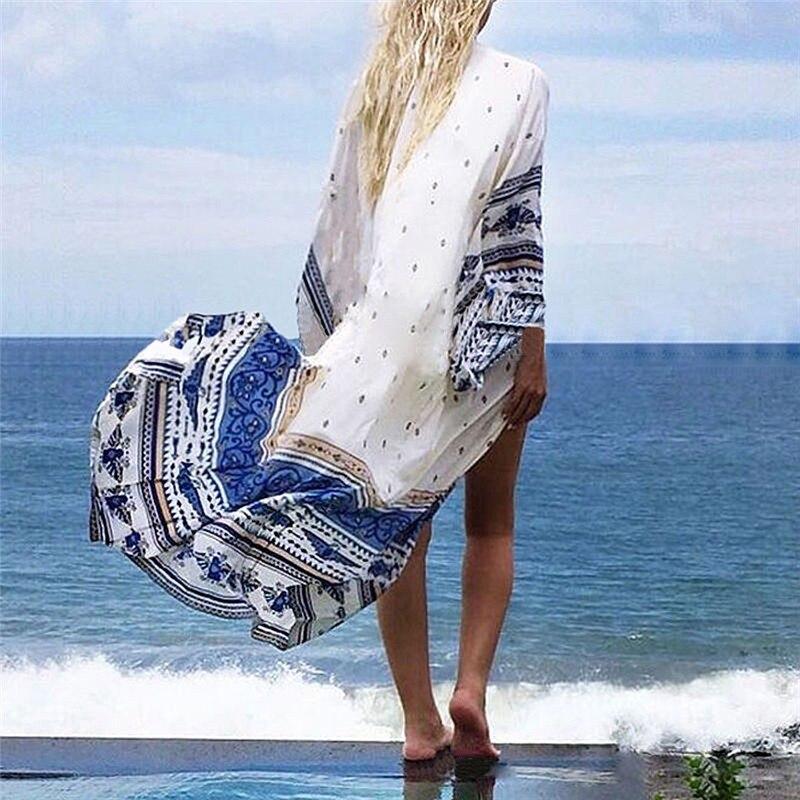 Fashion Women Summer Chiffon Bikini Cover Up Swimwear Bathing Suit Beach Dress Long Maxi 1