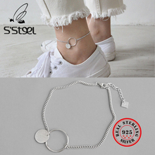 S'STEEL 925 Sterling Silver Anklets For Women Concise Geometry Disk Gold Color Chaine De Cheville Zilveren Ketting Fine Jewelry