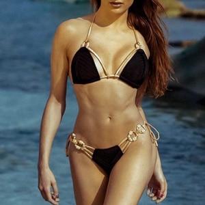 Image 5 - Brazilian triangle bikini 2020 Ribbed swimsuit female Halter diamond swimwear women High cut bathing suit Bandage biquini new