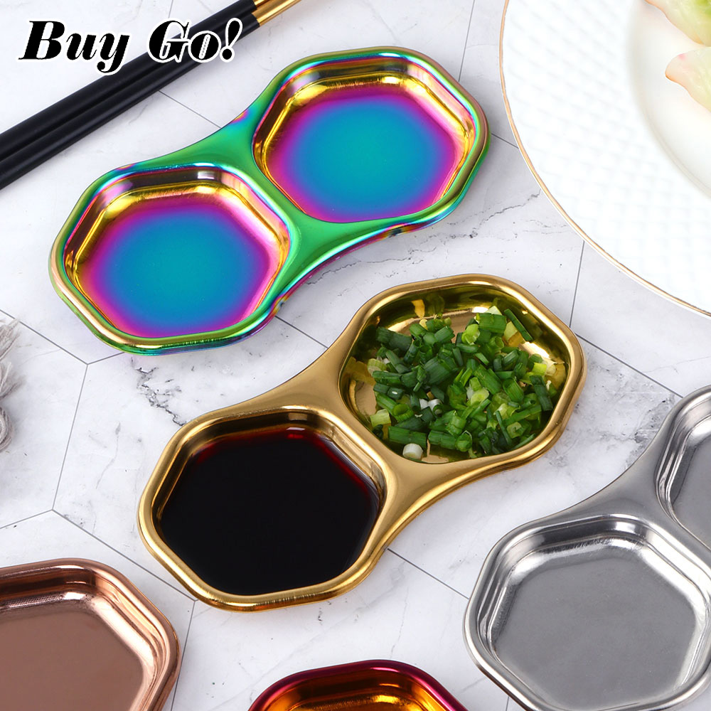 1PC Stainless Steel Japanese Kitchen Seasoning Small Sauce Dish Bowl Separate Sushi Vinegar Soy Plates Tableware Food Snack Tray