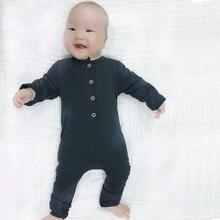 2016 New Fashion Baby Boys Rompers Newborn Cotton Long Sleeve Jumpsuit Boy Autumn Spring Plain Black Gray Clothes  25C