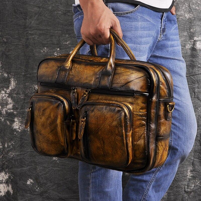Hf14d5355496045c9b2045047c6c592f9y Men Oil Waxy Leather Antique Design Business Travel Briefcase Laptop Bag Fashion Attache Messenger Bag Tote Portfolio Male k1013