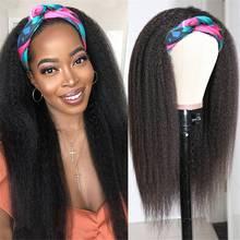 Headband Wig Full-Machine Human-Hair Remy Black Natural-Color Straight Women Brazilian