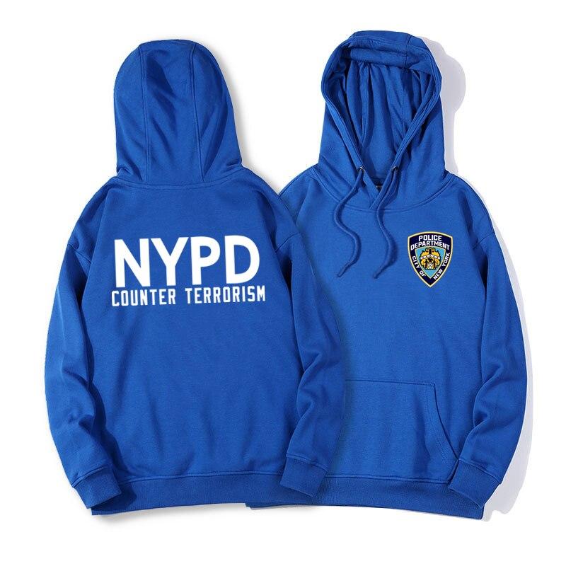 Nypd Police Толстовка для мужчин; толстовка с принтом для подростков; флисовая толстовка с капюшоном; пуловер; хлопковая одежда с капюшоном; зимн