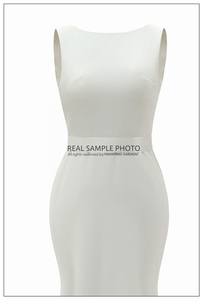 Image 5 - מפעל מחיר תמונה אמיתית סירת צוואר ללא משענת רגיל רך סאטן פשוט חתונה שמלת כלה שמלת FANWEIMEI #906
