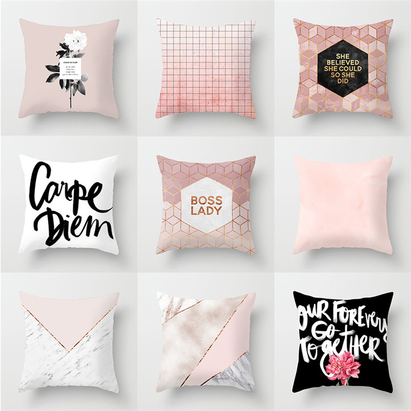 Nordic Simple Geometric Sofa Car Pillowcase Pink Polyester Home Office Cushion Cover Pillower Cover 45*45cm