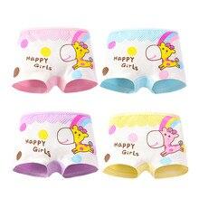4Pc Cartoon Girls Underwear Cotton Boxer Panties Kids Underpant Shorts