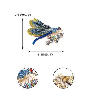 Image 5 - Женская брошь в виде животного, Золотая брошь в виде стрекозы, вечерние ювелирные изделия с кристаллами, подарок, эмаль, пин