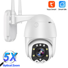 Tuya wifi câmera ip ao ar livre 1080p hd cctv câmera ptz dome câmera de vigilância de segurança em casa 5x zoom óptico cor visão noturna