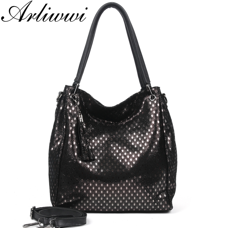 Arliwwi Brand Designer Women's Real Leather Shoulder Bags New Shiny Peacock Pattern Embossed Genuine Cow Leather Big Handbags