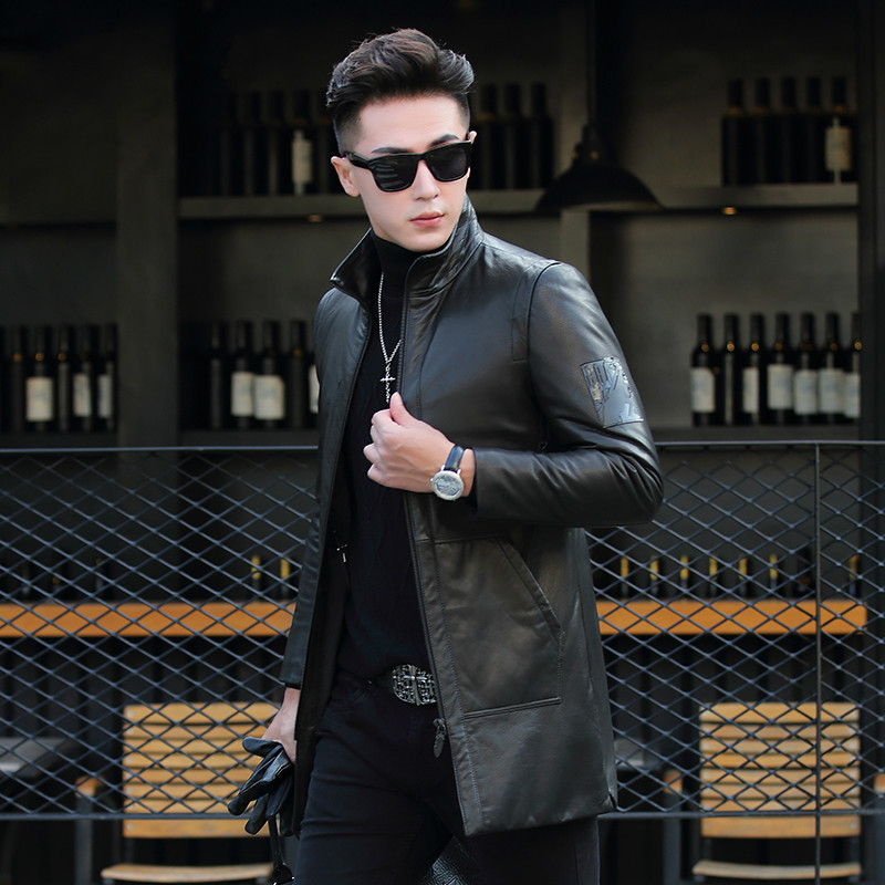 Men Goatskin Down Jacket Winter Genuine Leather Jacket Men Clothes Long Coat Slim Blouson Cuir Homme ML-DAF17910 KJ1194