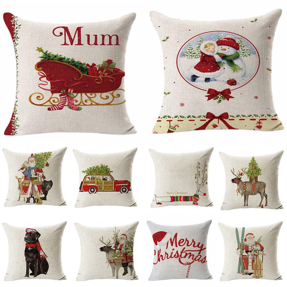 Noel keten atmak yastık kılıfı minder örtüsü çekyat araba Cafe ofis dekor noel desen minder örtüsü parlak renk ile
