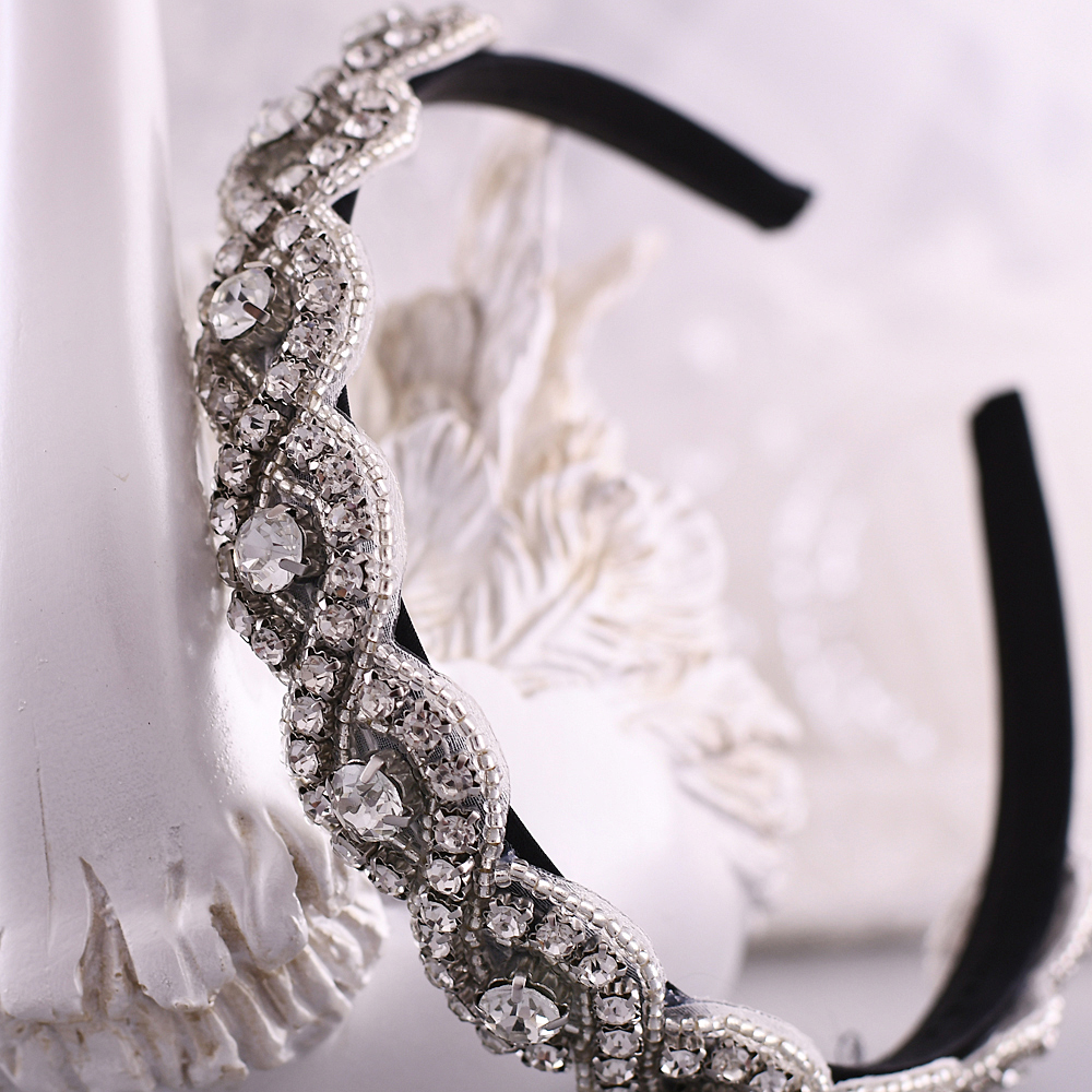 TRiXY S28-FG Luxury Crystal Headpiece Wedding Bridal Headbands for Wedding Beaded Headband Baroque Fashion Personality Hair Hoop