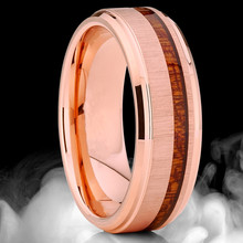 FDLK  Mens 8mm Stainless Steel Rose Gold Color Ring Koa Wood Inlay Wedding Band Comfort Fit tailor made luxury western rose gold color inlay health surgical stainless steel wedding bands rings sets