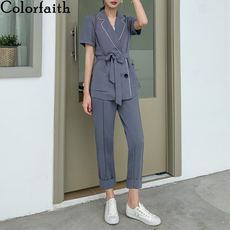 Colorfaith 2020 New Summer Woman Sets 2 Piece Ankle-Length Pants High Elastic Waist Casual Double Breasted Sashes Suit WS1258