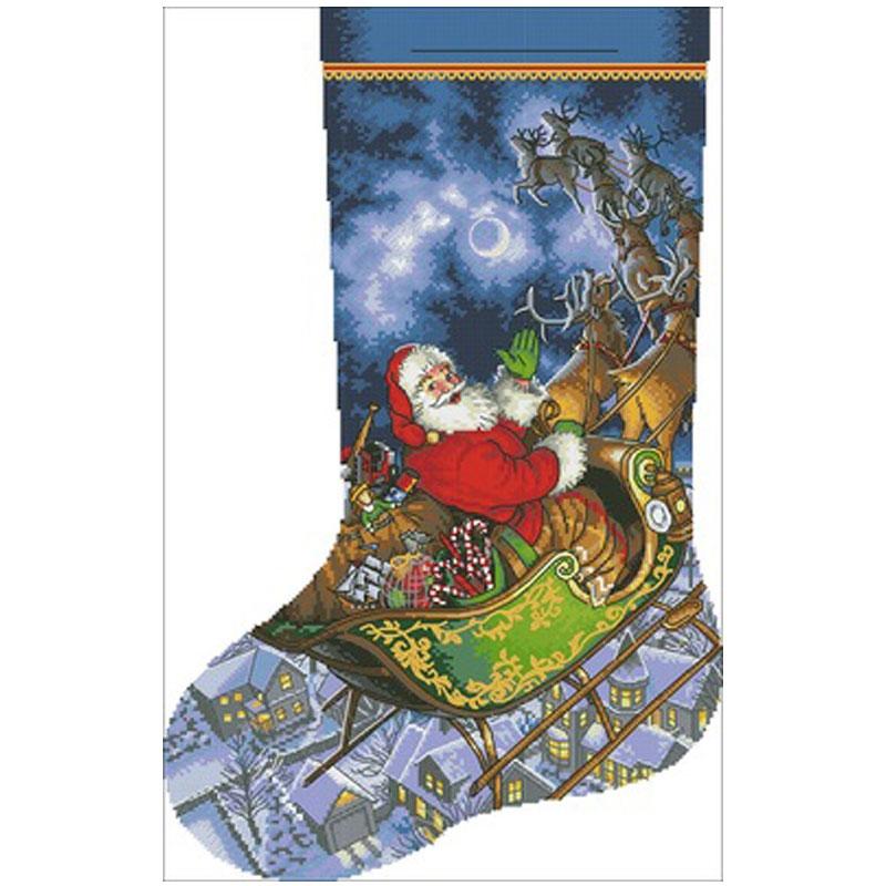Santa Claus en Navidad calcetín contado punto de cruz 11CT 14CT 18CT DIYChinese Cross Stitch Kit bordado juegos de costura Pintura de diamante kexinzz chica cuadrada completa Ángel pintura con bordado de diamantes de imitación costura DIY mosaico de diamantes para manualidades YF04