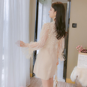 Image 2 - Young Gee Elegant Embroidery Party Dresses Spring Autumn Flare Sleeve Lace Floral Tweed Patchwork Office Lady Mini Dresses robe