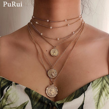Purui  Bohemian Layered Choker Necklace Imitation Pearl Chain Coin Pedant Necklace for Women Goth Gold Color Fashion Jewelry salircon fashion multi layered waist chain belt for women gold color chain imitation pearl leather belly chain sexy body jewelry