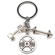 Popular Fashion Accessories Keychain Designer Gift coach Souvenir Mini Dumbbell Discus Barbell Key Ring Fitness Charm Keychain(China)