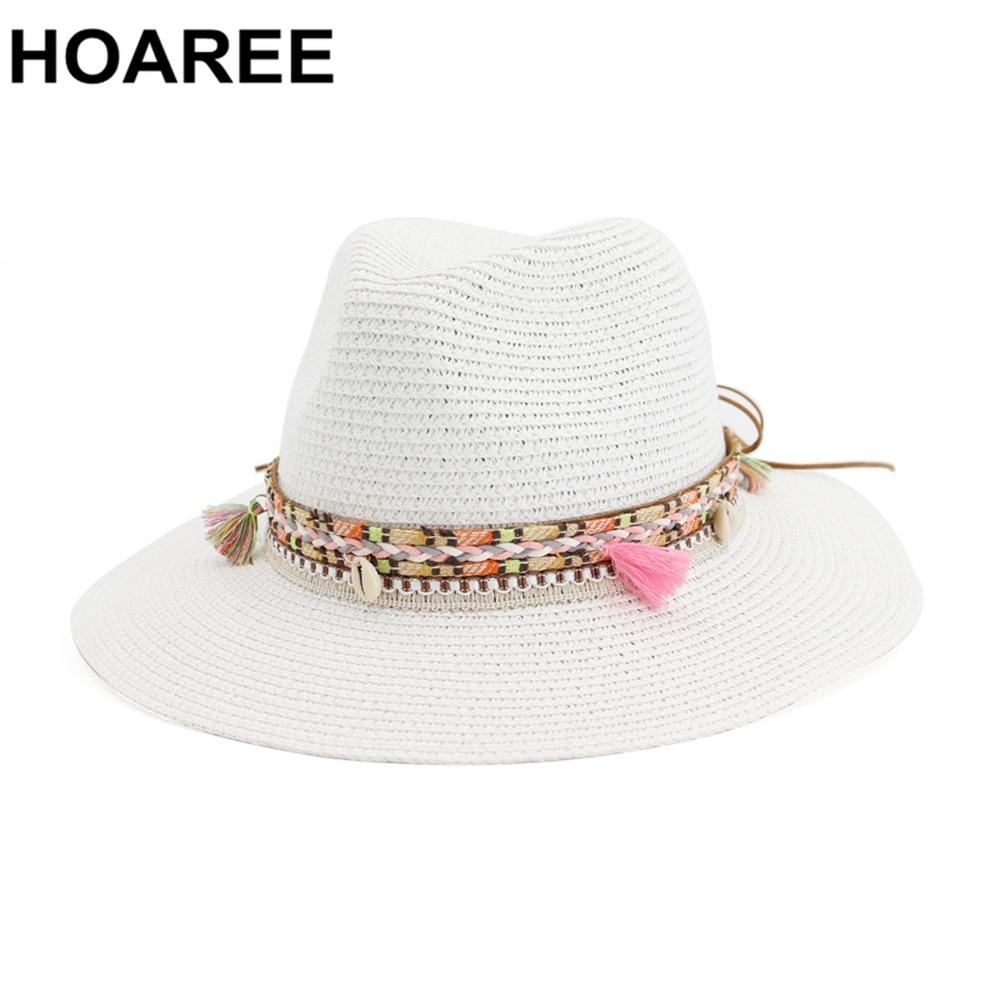 HOAREE Straw Sun Hat White Panama Hat Beach Womens Summer Caps Sombrero Female Fedora Casual Ladies Chapeau