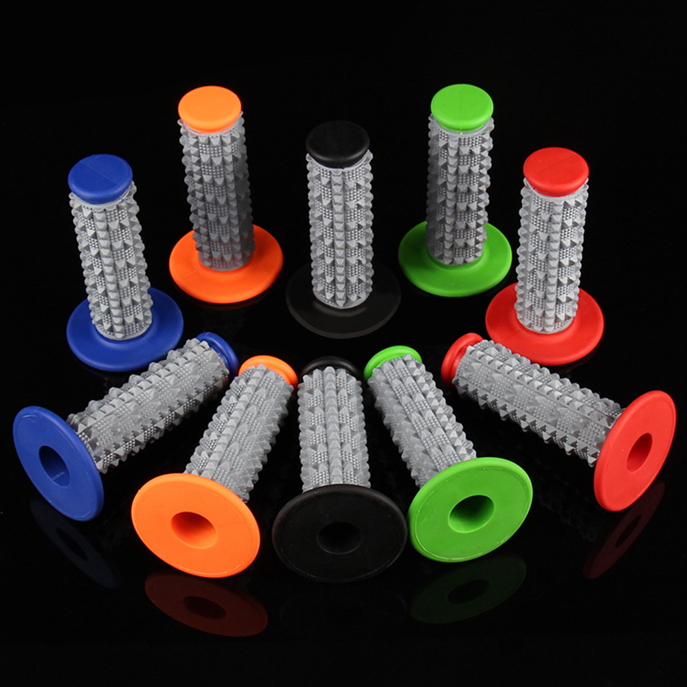 <font><b>1</b></font> pair 3D two-color silicone anti-skid <font><b>grip</b></font> Cross-country <font><b>motorcycle</b></font> modified handle glue universal 22mm 7/8