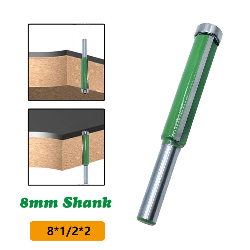 1pc 8mm Shank Trimming Router Cutter 1/2inch Flush Bearing Wood Template Drill Bit Alloy Wood Milling Graver Power Tool