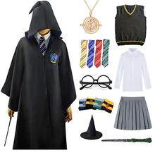 Cosplay Godric kostium Potter naszyjnik szalik krawat magiczna różdżka hermiona mundurek szkolny szata Haloween akcesoria do kostiumów tanie tanio CN (pochodzenie) Spódnice Film i TELEWIZJA Unisex Zestawy Harris Kostiumy