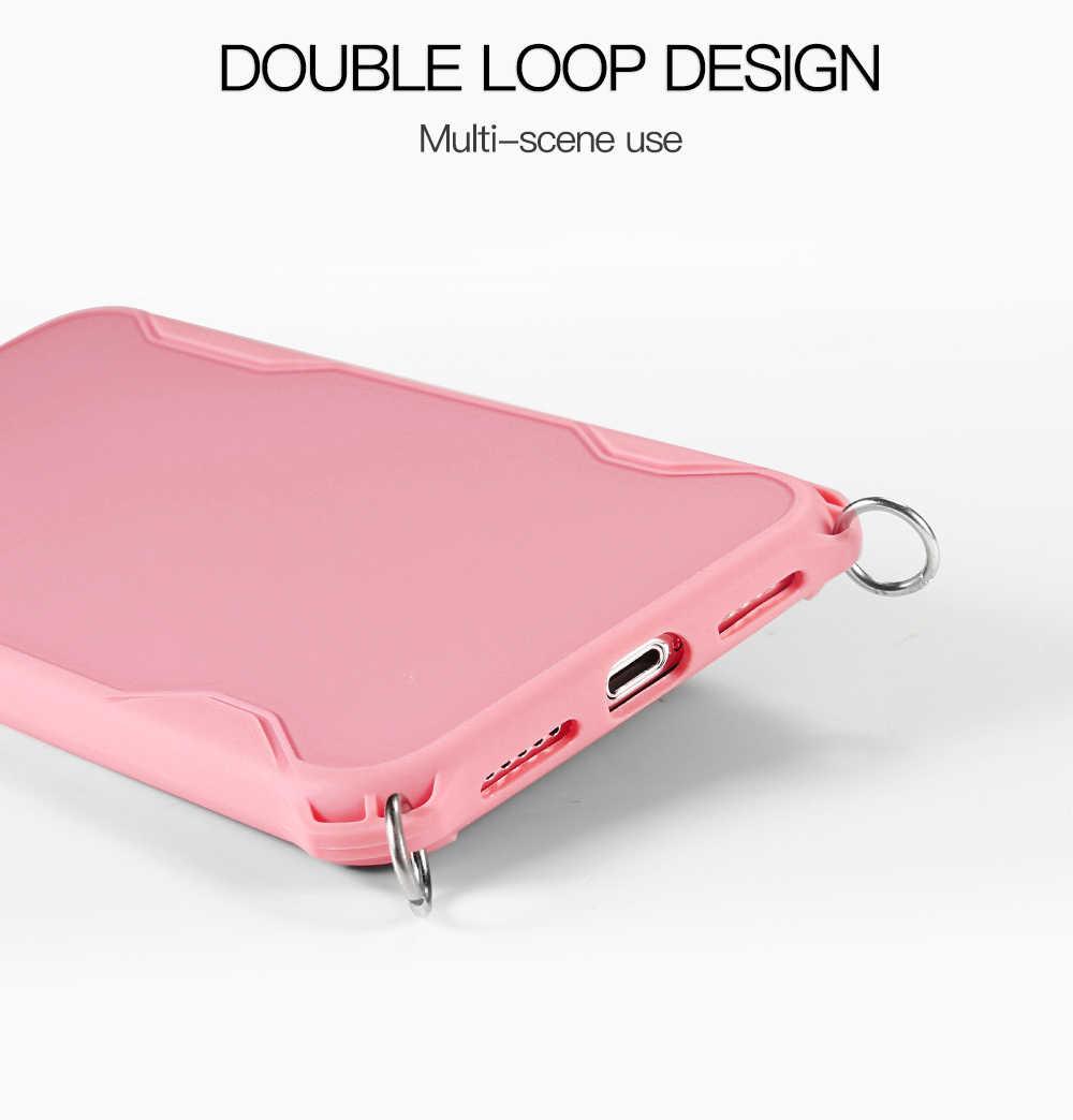 Caixa do telefone da correia da cor para o iphone 11 pro max x xs 6 s 7 8 plus caso da capa do silicone com botão do metal correia microelástica