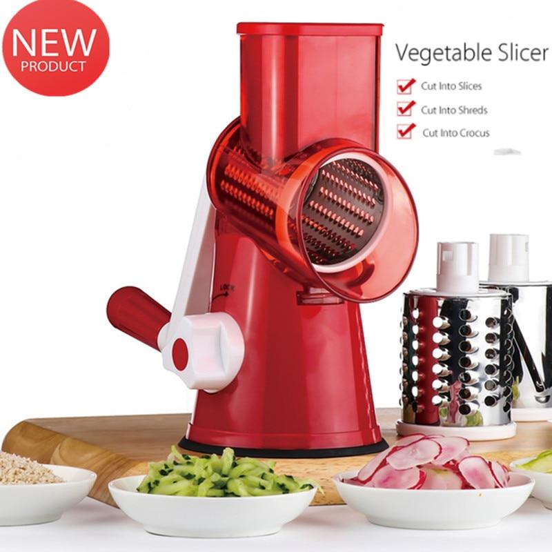 Multi-function Vegetable Shredder Hand-cranked Cheese Cutter Stainless Steel Drums Slicer Vegetable Cutter Chopper Grater Slicer