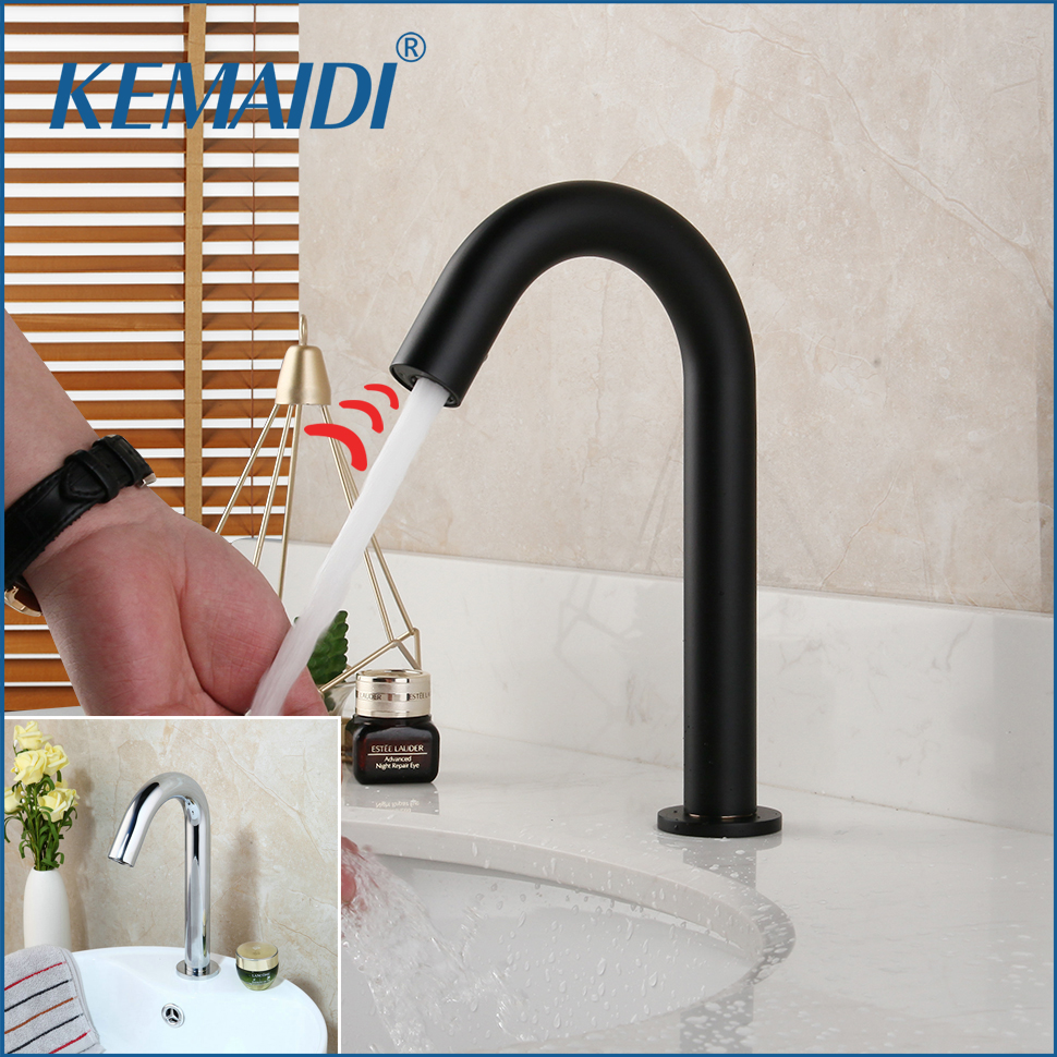 KEMAIDI Matte Black Hand Touch Tap Automatic Inflated Sensor Faucet Hot Cold Crane Deck Mount Bathroom Basin Sink Faucet Chrome