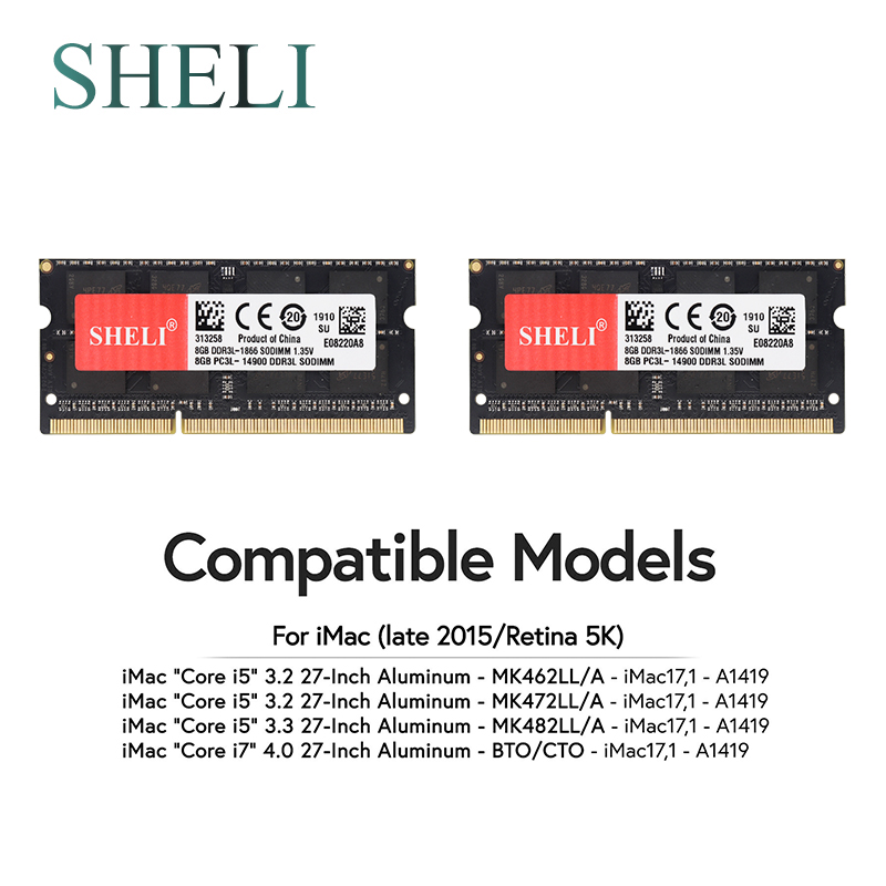 SHELI 2 X 8GB 1866 1867 MHz PC3-14900 Memory RAM For Late 2015 APPLE IMac 5K 17.1