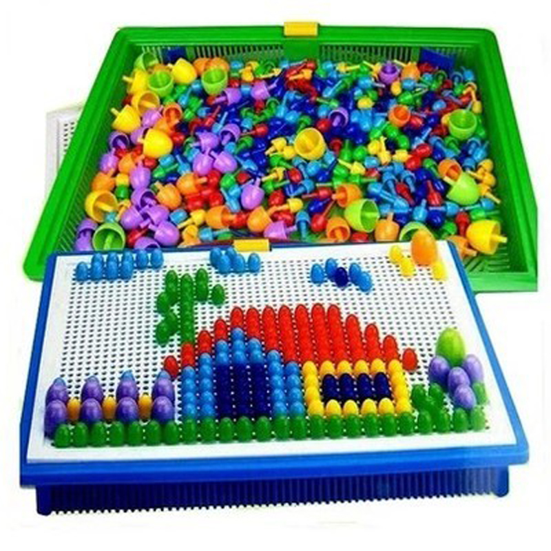 296pcs/set Creative Mosaic Toy Gifts Children Nail Composite Picture Puzzle Creative Mosaic Mushroom Nail Kit Puzzle Toys