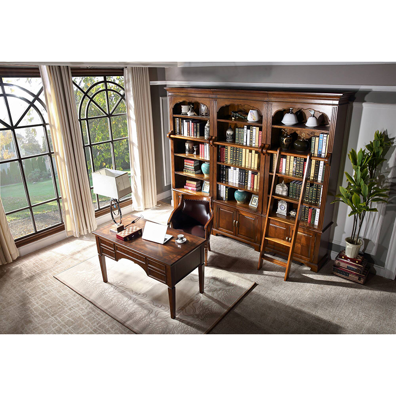 Wood Library Bookcase Furniture Bookcase With Ladder WA694